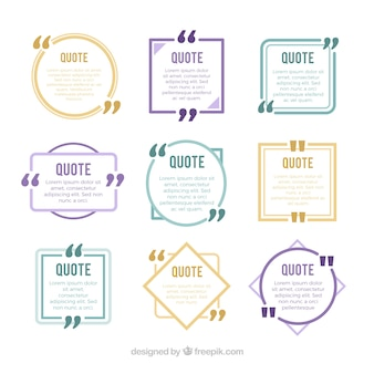 Set of new style quotes with geometric figures