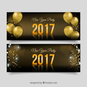 Set of new year banners with golden balloons and confetti