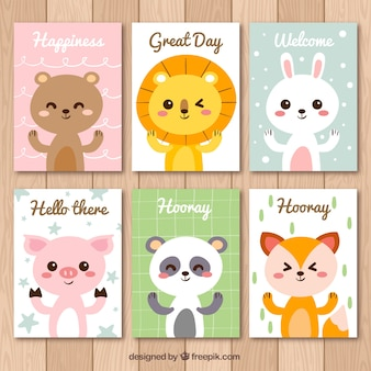 Set of nice animal cards with messages