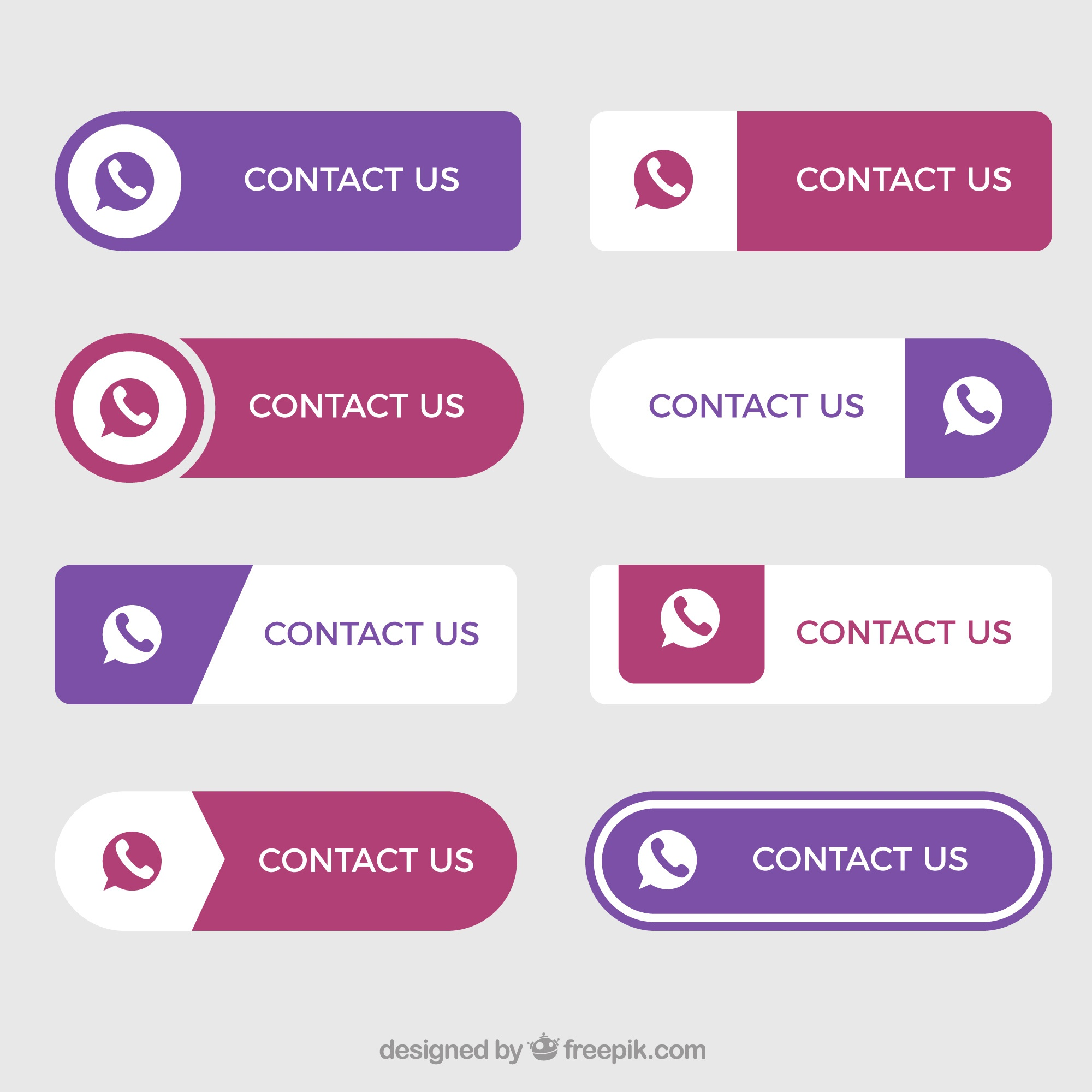 Set of nice contact buttons in flat design