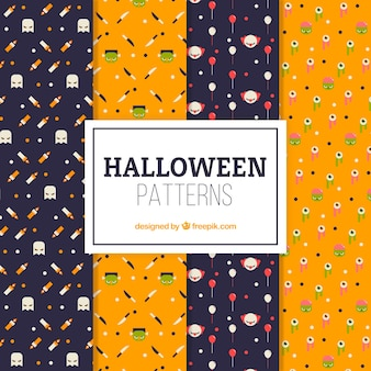 Set of nice decorative patterns of halloween in flat design