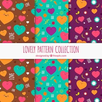 Set of nice hearts patterns