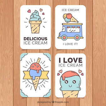 Set of nice ice cream cards in linear style