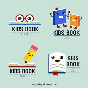 Set of nice kids reading logos