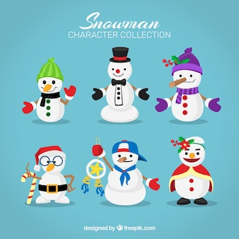 Set of nice snowmen with accessories