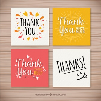 Set of nice thank you cards