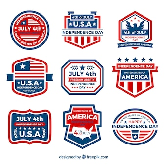 Set of nine blue and red stickers for independence day