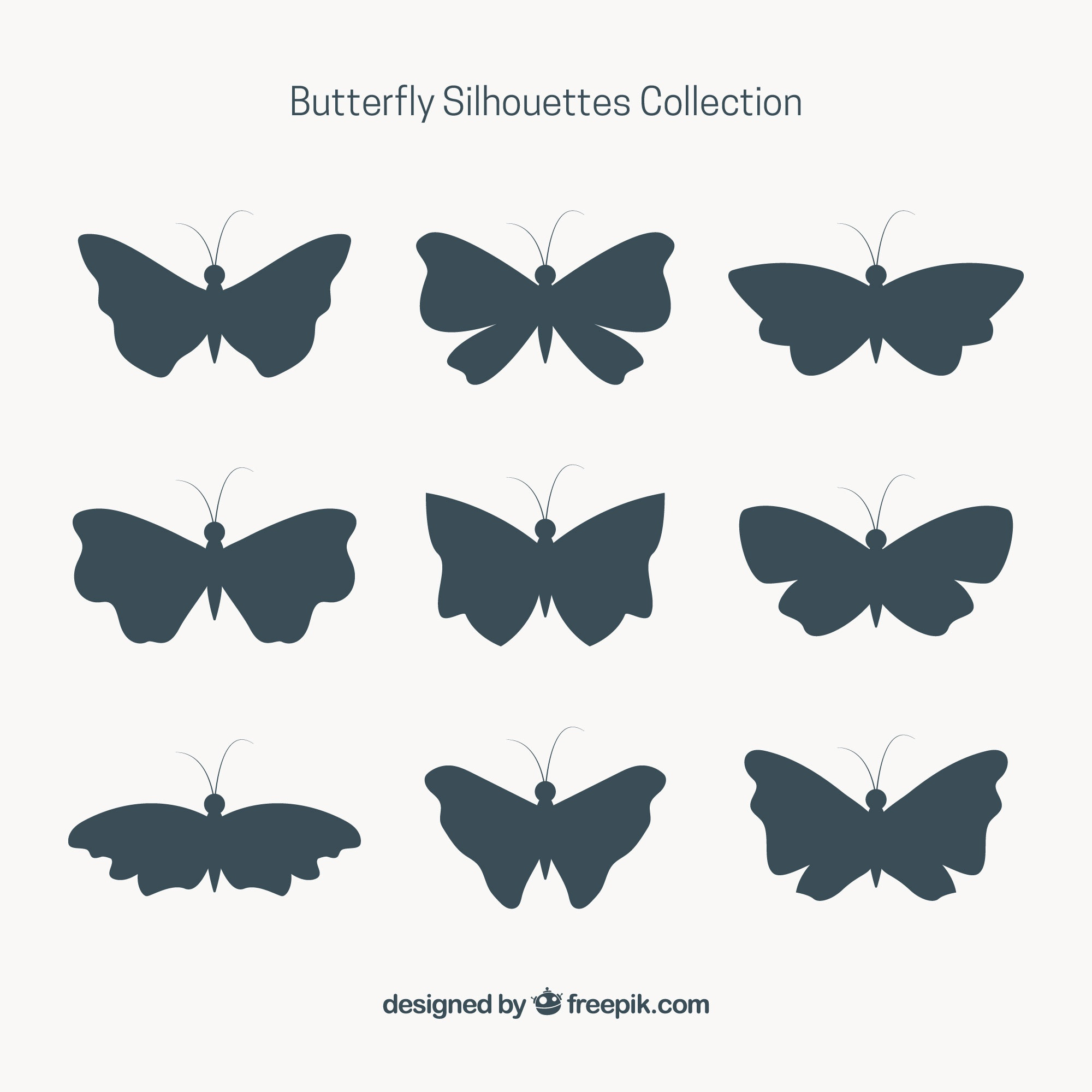 Set of nine butterfly silhouettes