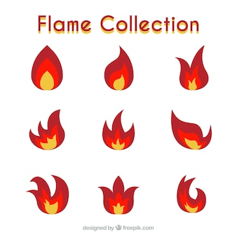 Set of nine flames with three colors