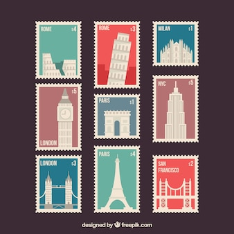 Set of nine post stamps with different monuments