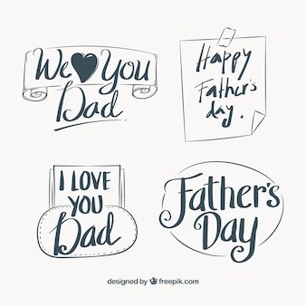 Set of note and retro father's day stickers