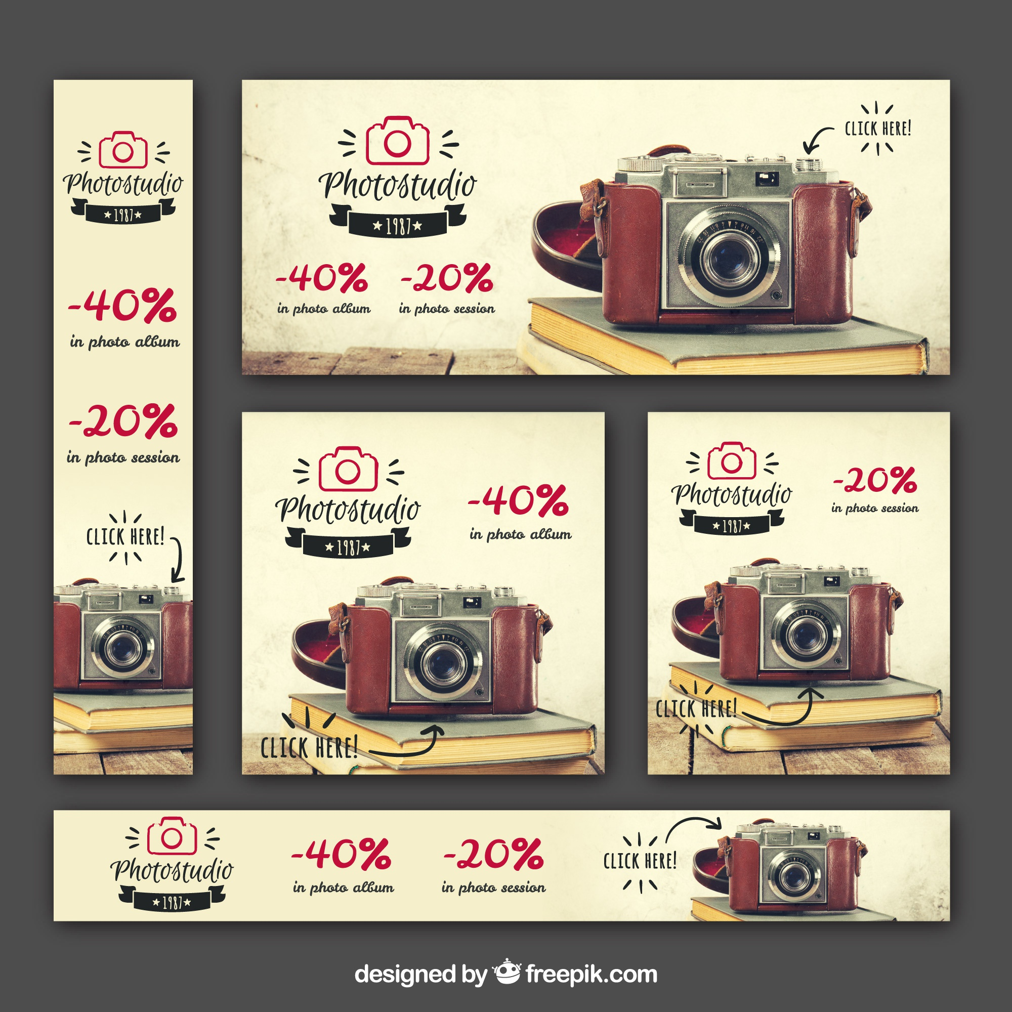 Set of offer photography banners