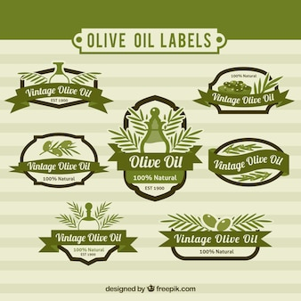 Set of olive oil stickers in vintage style