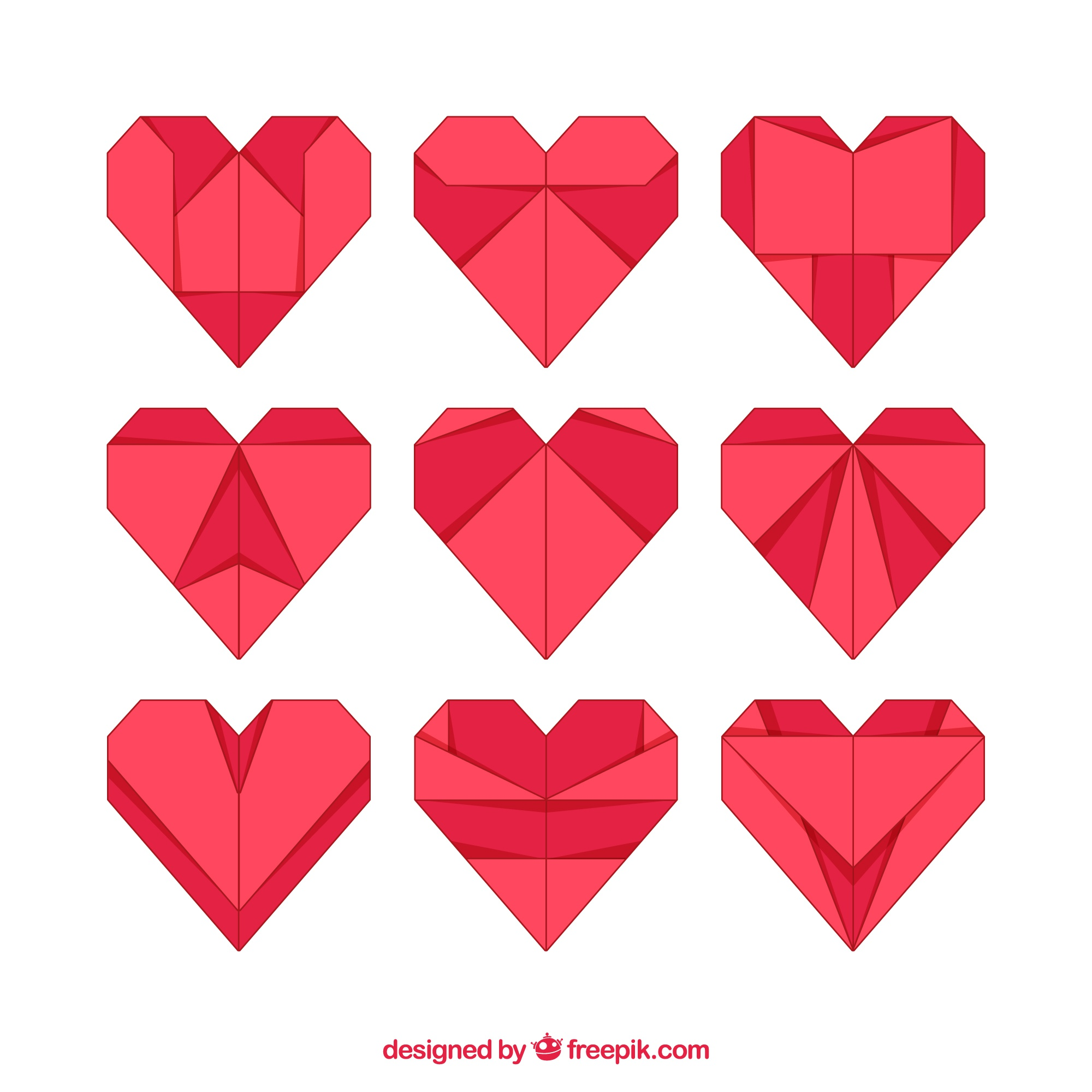 Set of origami hearts