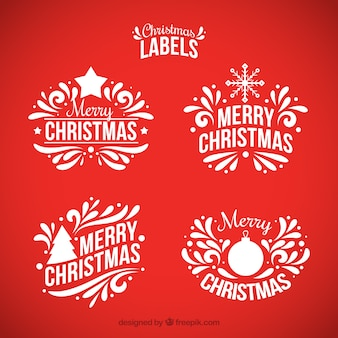 Set of ornamental christmas stickers