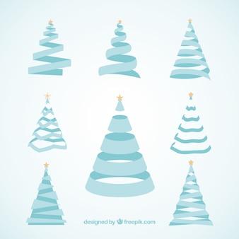 Set of ornamental christmas trees