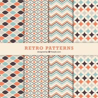 Set of ornamental decorative patterns in retro style