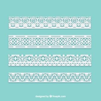 Set of ornamental lace borders