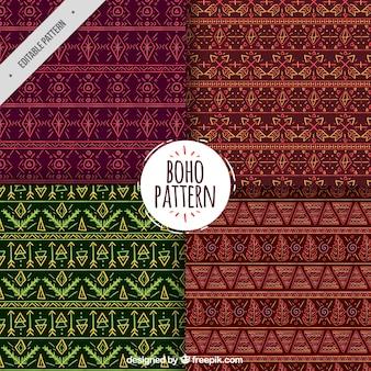 Set of ornamental patterns in boho style