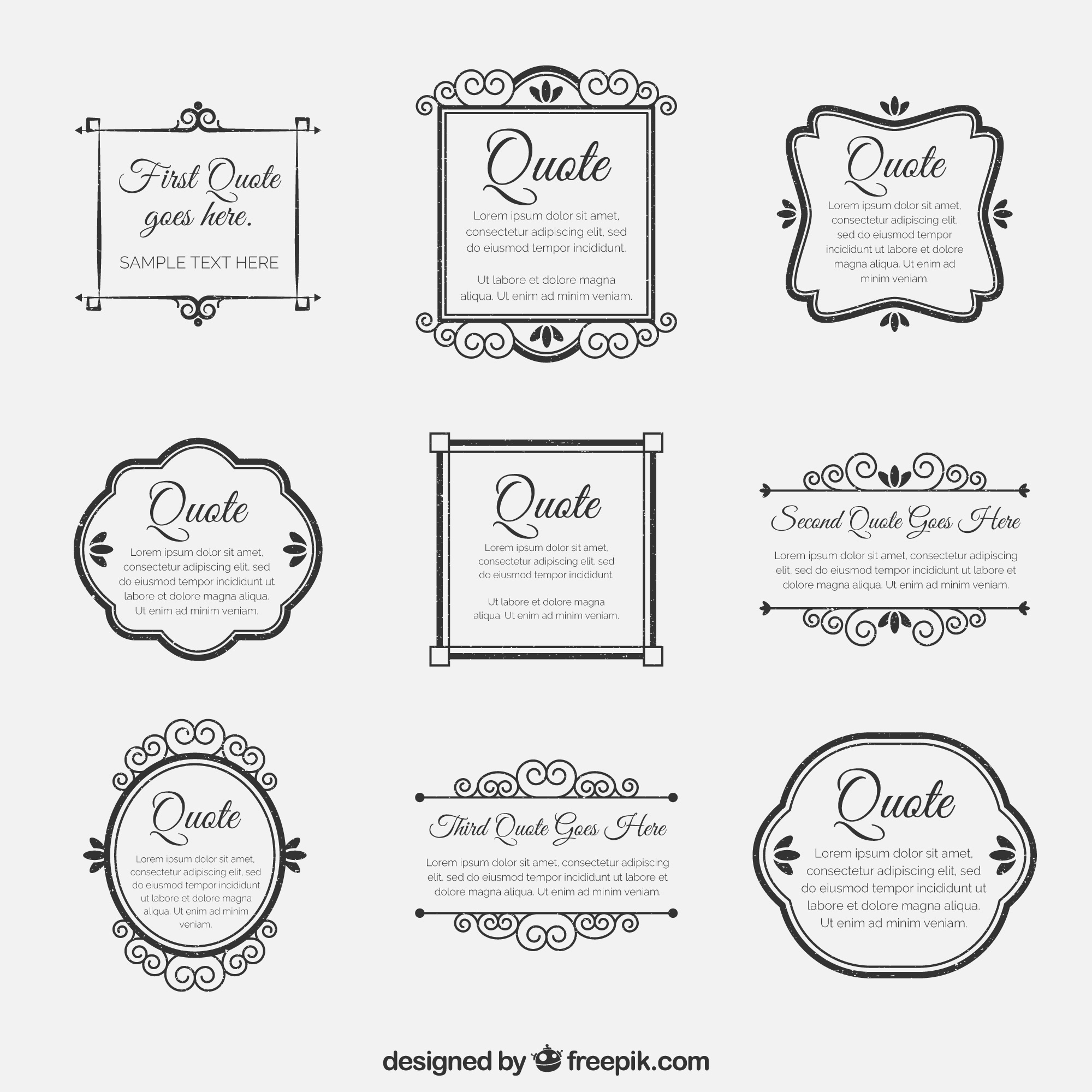 Set of ornamental retro ornamental frames