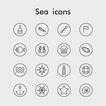 Set of outlined sea icons