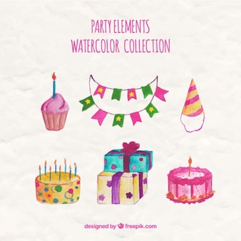 Set of party items in watercolor style