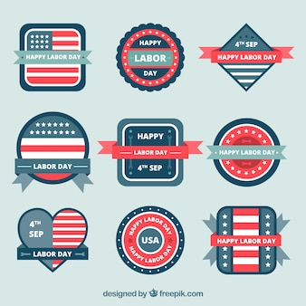 Set of patriotic badges for labor day