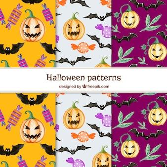 Set of patterns of pumpkins and watercolor bats
