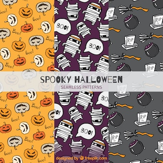 Set of patterns with drawings of halloween