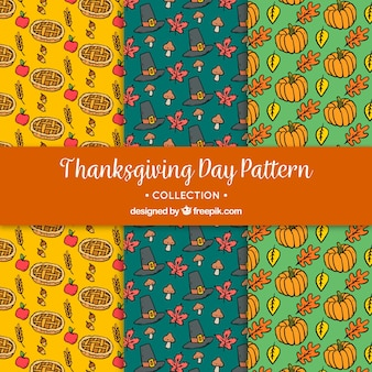 Set of patterns with drawings of thanksgiving elements
