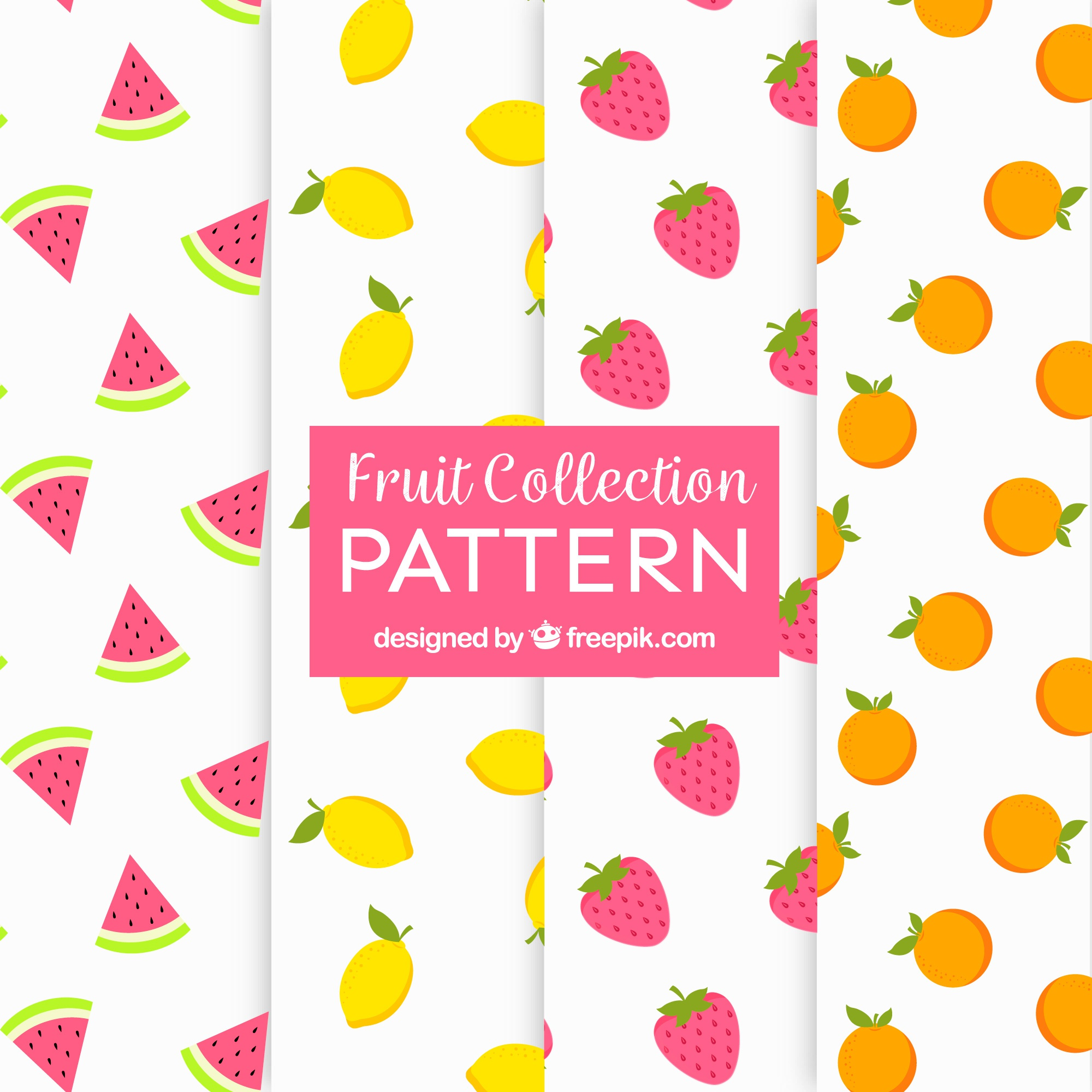Set of patterns with four different fruits