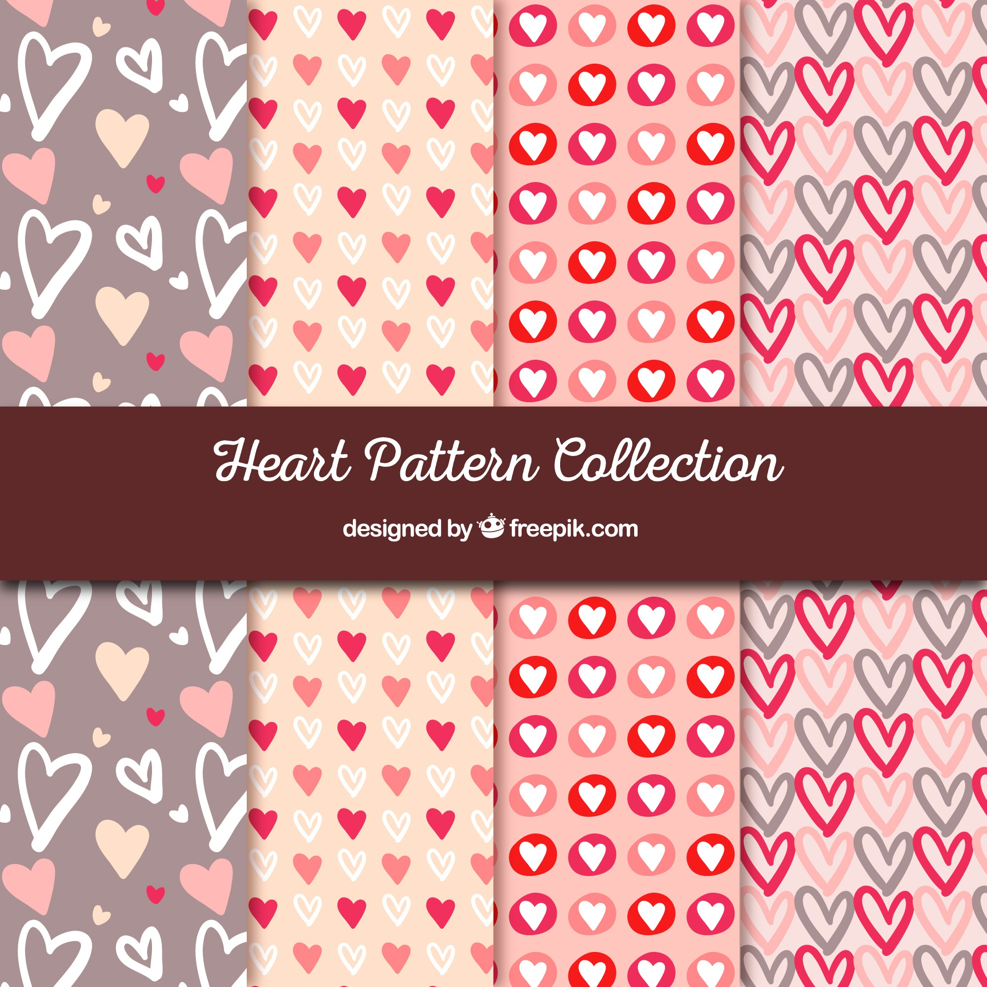 Set of patterns with hand drawn hearts