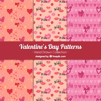 Set of patterns with hand drawn valentine elements