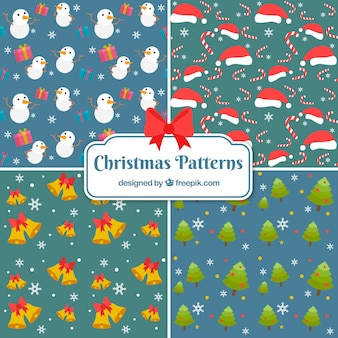 Set of patterns with nice christmas elements