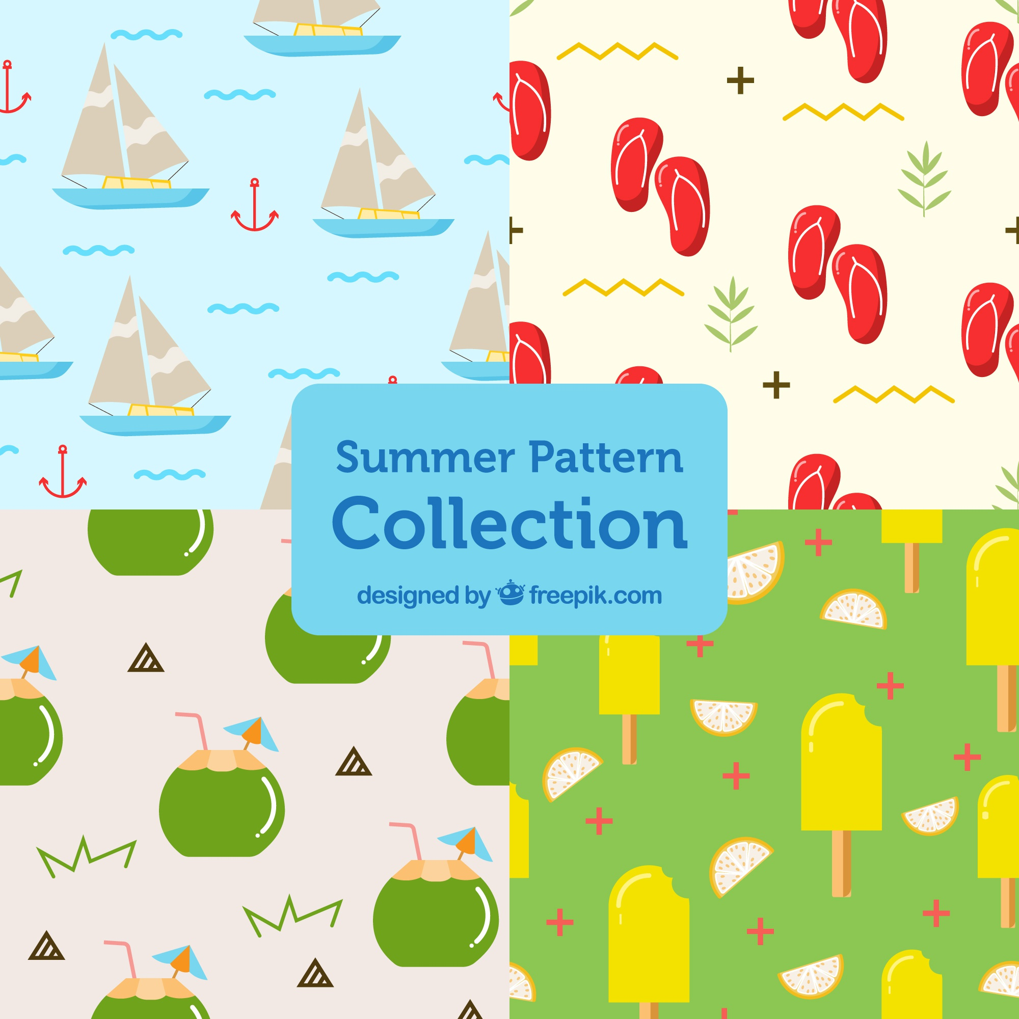 Set of patterns with summer objects