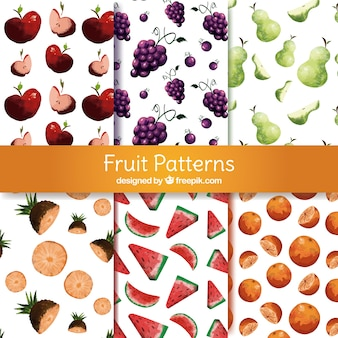 Set of patterns with variety of watercolor fruits