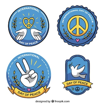 Set of peace day stickers