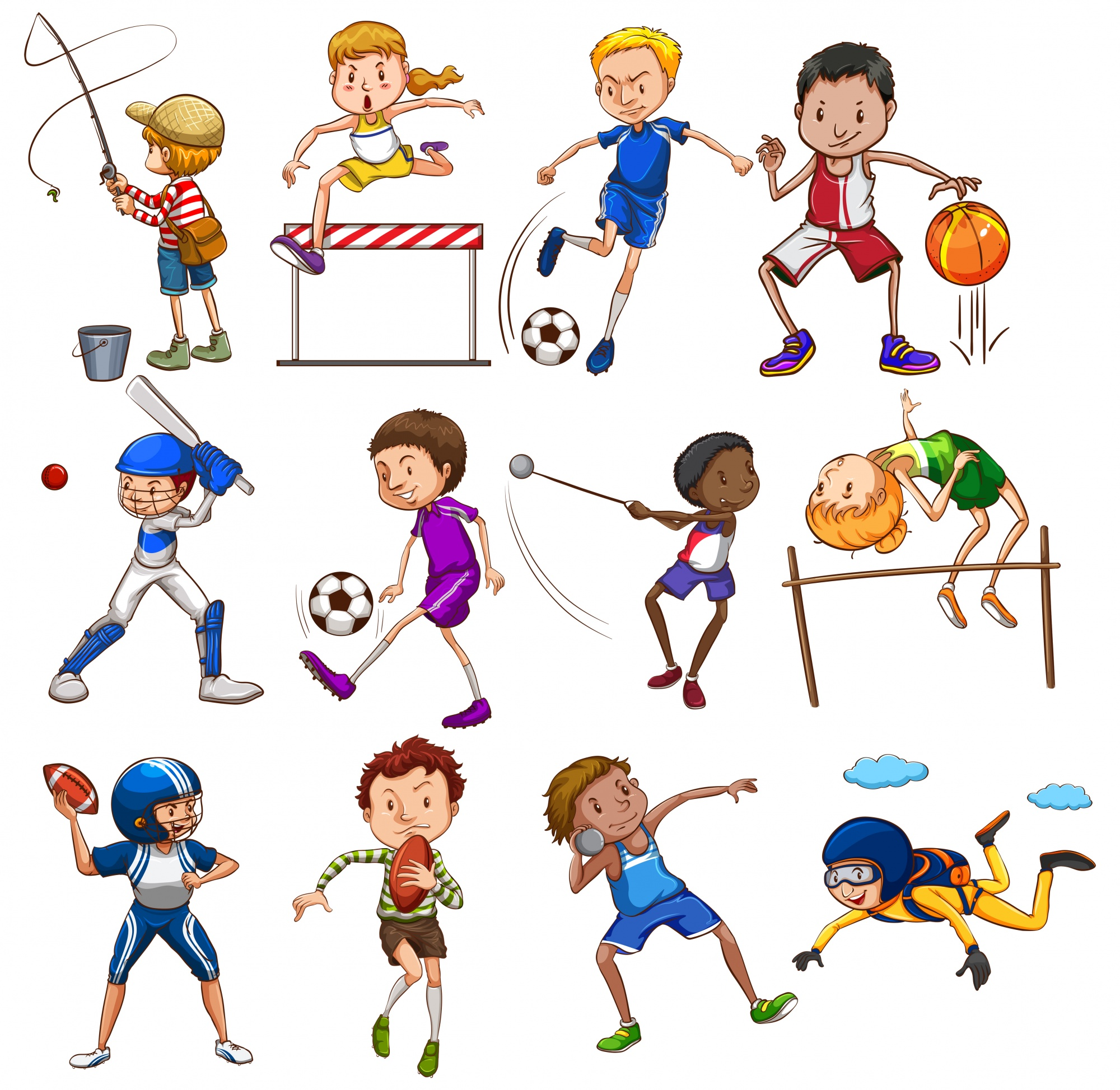 Set of people playing different sports