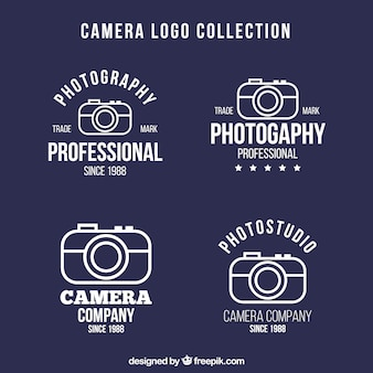 Set of photo logos in linear design