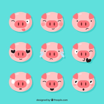 Set of piglet emoticons