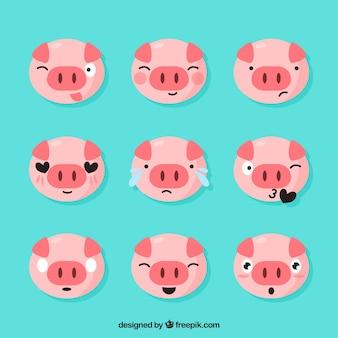 Set of piglet emoticons