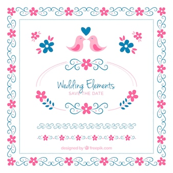 ピンクとブルーの結婚式の要素のセット