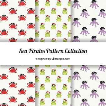 Set of pirate animal patterns