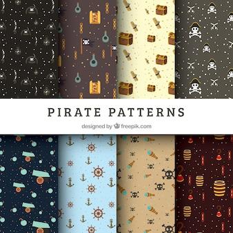 Set of pirate patterns in flat design