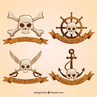 頭蓋骨と海賊リボンのセット
