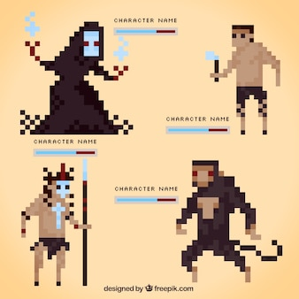 Set of pixelated video game characters