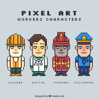 Set of pixelated workers