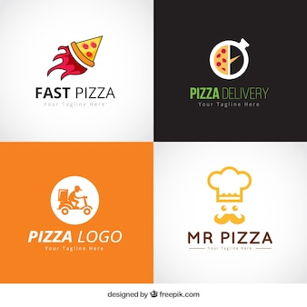 Set of pizza logos