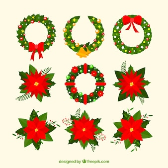 Set of poinsettias and natural wreath