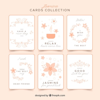 Set of pretty cards with flowers